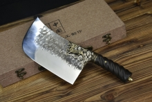 02336  双色镏金镏银麒麟斩切刀(圆头款)