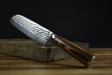 02661 大马士革纹彩木柄锤纹小厨刀